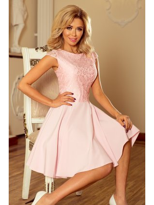 Šaty s krajkou pastel pink 157-4