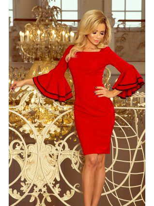 Šaty so španielskymi rukávmi červene 188-1