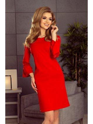 Šaty s krajkou na rukávoch- červené 190-3