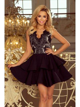 Exkluzívne šaty s A-čkovou suknou čierne 200-3
