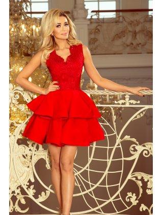 Exkluzívne šaty s A-čkovou suknou červené 200-4