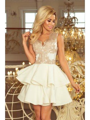Exkluzívne šaty s A-čkovou suknou zlaté 200-1