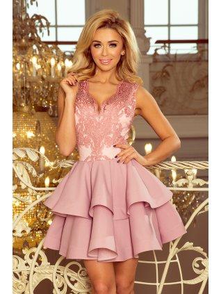 Exkluzívne pastelové šaty s A-čkovou suknou 200-5