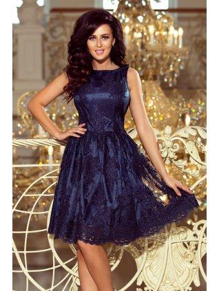 Dámske rozšírené šaty s vyšívaným materiálom v tmavomodrej farbe 173-3