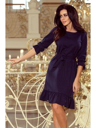 Dámske šaty s volánikmi tmavomodré 193-3