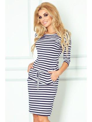 Sporty dress - Blue stripes 13-34 (Veľkosť XS)