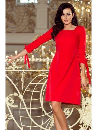 Šaty s viazaním červené 195-4