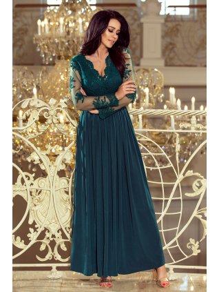 Dlhé šaty s vyšívaným vystrihom tmavozelené 213-1