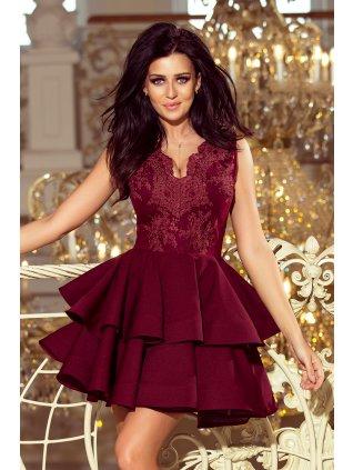 Exkluzívne šaty s A-čkovou suknou burgundy 200-8