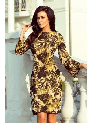 Šaty so vzorom listov horčicové 221-2