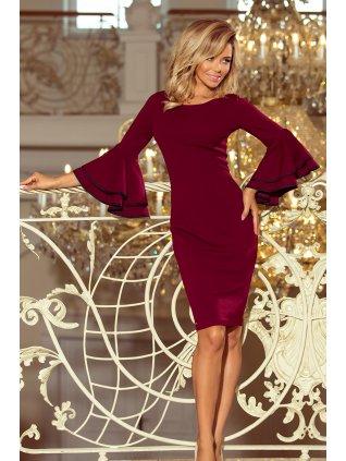 Šaty so španielskymi rukávmi vínové 188-3