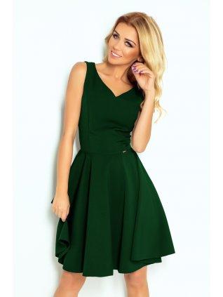 Šaty s kruhovou suknou tmavozelené 114-10