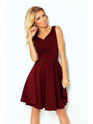 Šaty s kruhovou suknou burgundy 114-11