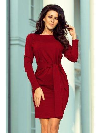 Šaty s opaskom s viazaním burgundy 209-3