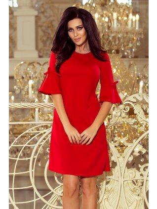 Červené šaty s volánmi na rukávoch 217-1
