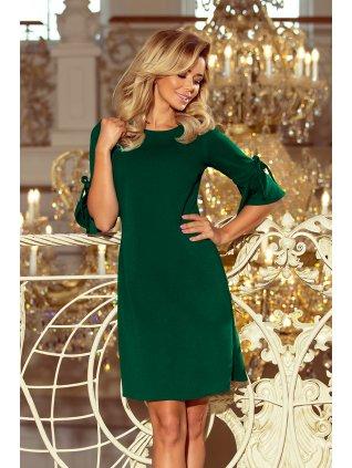 Zelené šaty s volánmi na rukávoch 217-2