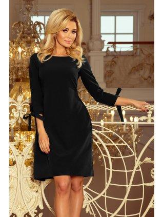 Šaty s viazanim čierne 195-8