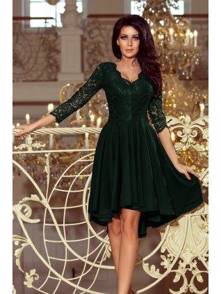 Šaty s krajkovými rukávmi tmavozelene 210-3