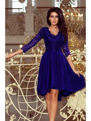 Šaty s krajkovými rukávmi kralovska modra 210-4