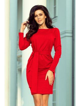 Šaty s opaskom a s viazaním červené 209-6