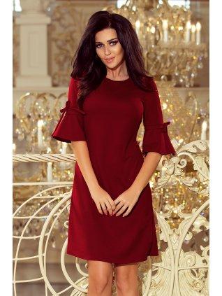 Burgundy šaty s volánmi na rukávoch 217-3