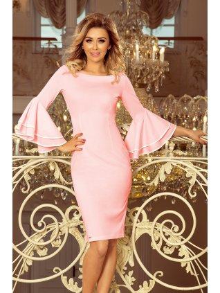 Šaty so španielskymi rukávmi čierne 188-4 pastel pink