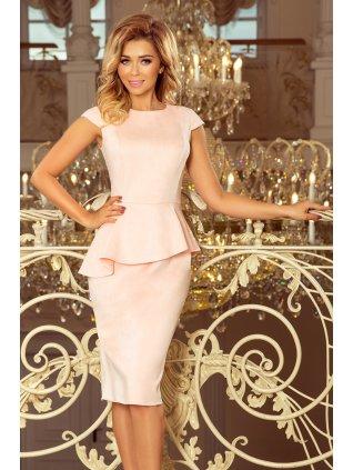 Elegantné šaty s volánikom púdrové 192-8
