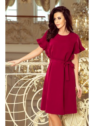 Volné šaty s volánikmi na rukávoch burgundy 229-2