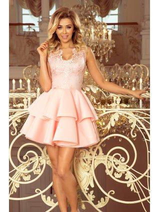 Elegantné krajkové šaty pastel pink 207-3
