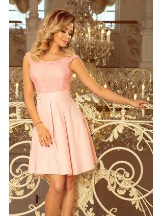 FLORA šaty s okrúhlym výstrihom a čipkou pastel pink 244-1