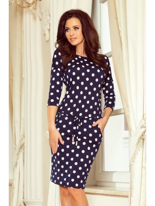 Športové šaty navy blue + polka dots 13-101