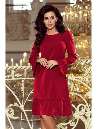 Burgundy šaty s volánmi 226-2
