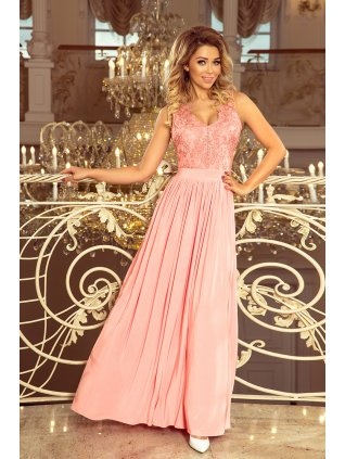 Dlhe šaty s vyšívaným vystrihom pink 215-4