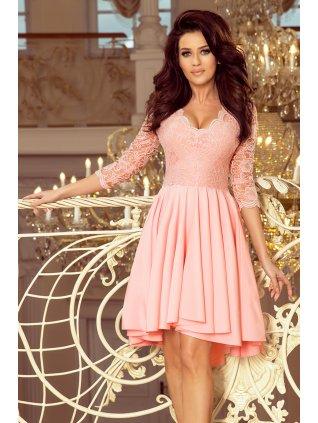 Šaty s krajkovými rukávmi pastel pink 210-2