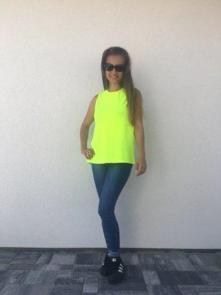 Bavlnené tričko neon žlta