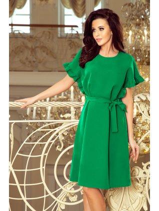 Volné šaty s volánikmi na rukávoch zelene 229-3