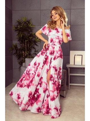 Kvetované dlhé šaty s hispánskym výstrihom - ružové kvety 194-2