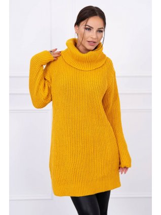 pol pl Sweter sukienka z golfem musztardowa 14029 4