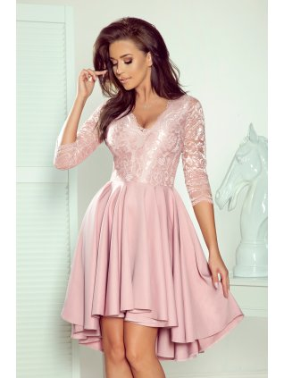 Šaty s krajkovými rukávmi pink 210-11