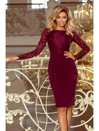 Dámske elegantné šaty s čipkou vínové 216-3