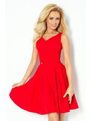 Dress circle - heart-shaped neckline - Red 114-3 (Veľkosť XL)