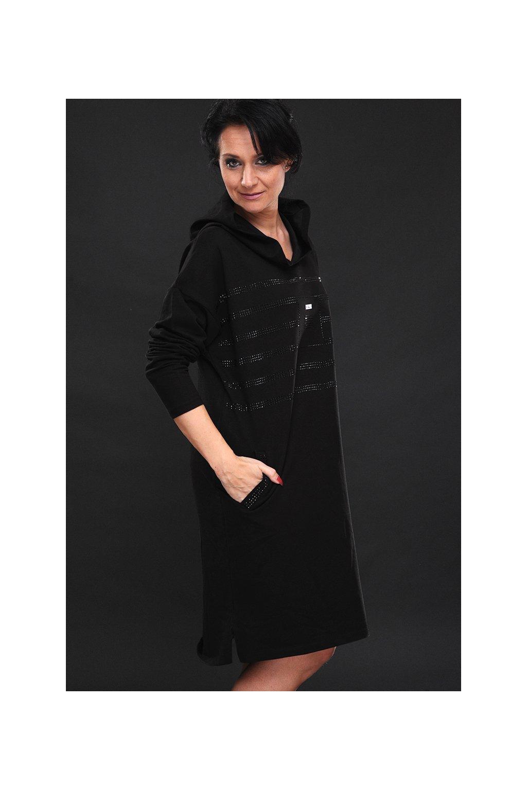 Dámské maxi šaty s kapucí LASENKA DIAMOND BLACK1