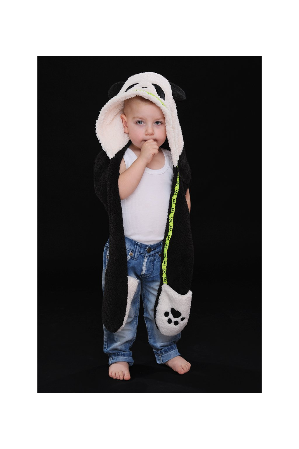 Dětská panda čepka 3v1 BLACK & WHITE – NEON GREEN 1