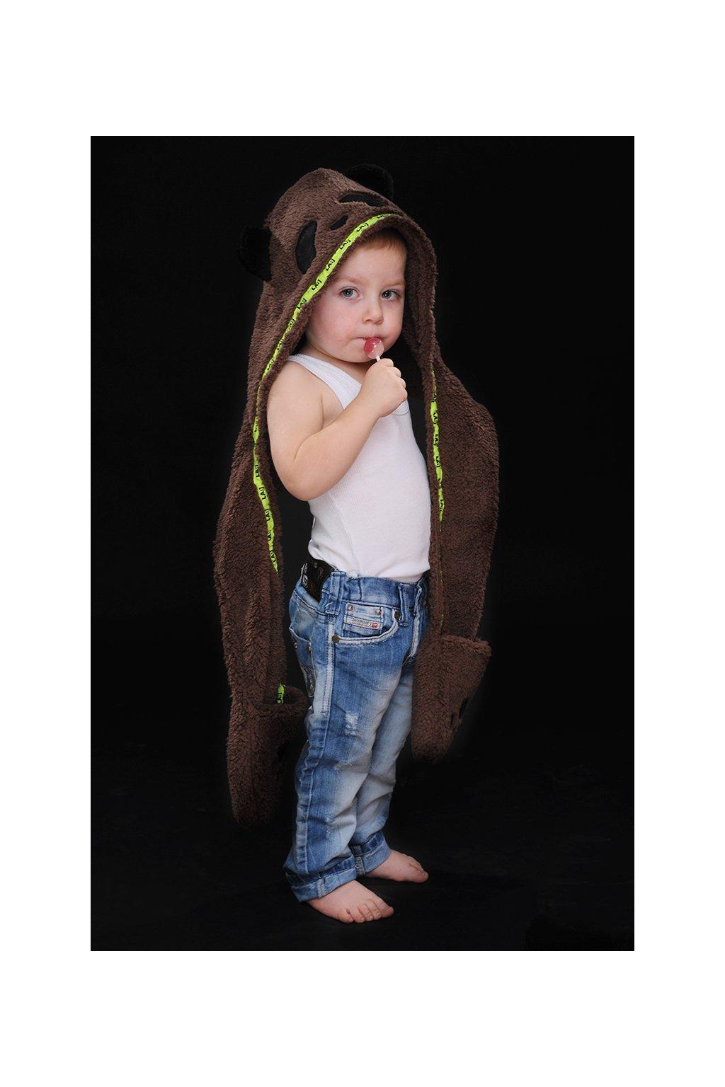 Dětská panda čepka 3v1 BROWN 1