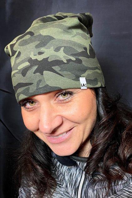 Bavlnena cepice LASENKA army green 3