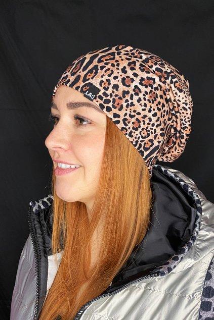 Bavlnena cepice LASENKA leopard 1