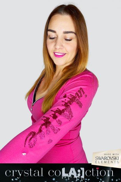 Damské triko dekolt zip IMB 037 Pink Crystal 1