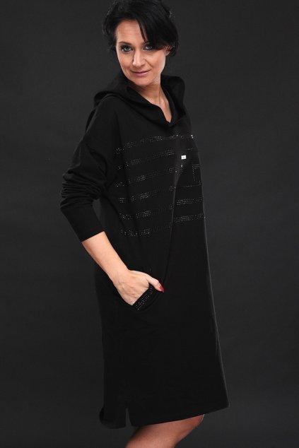 Dámské maxi šaty s kapucí LASENKA DIAMOND BLACK EDIT 1