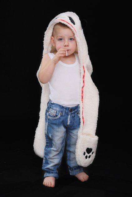 Dětská panda čepka 3v1 WHITE1