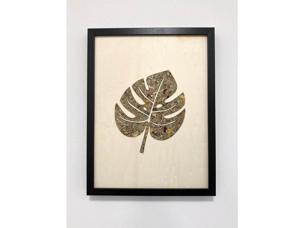 dreveny obraz-obraz list-obraz-organoid-drevo